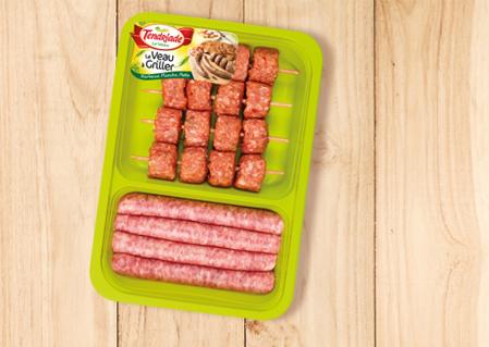 Plateau brochettes de haché de veau nature & saucisses de veau à la provençale