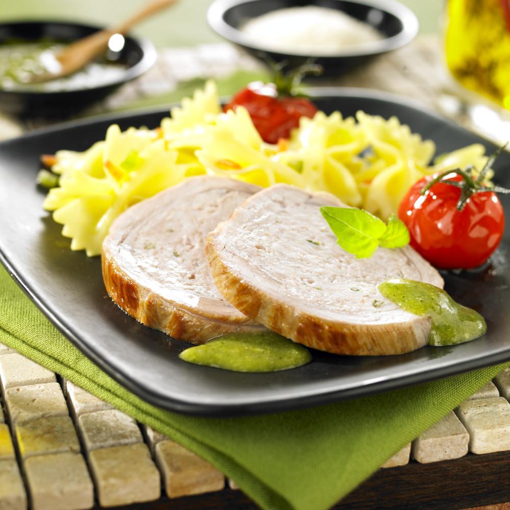 R ti de veau farci nature sauce au pesto tendriade - Cuisiner un roti de veau ...