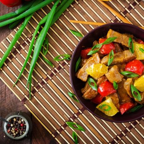 Wok de Veau à l'orange et au poivron